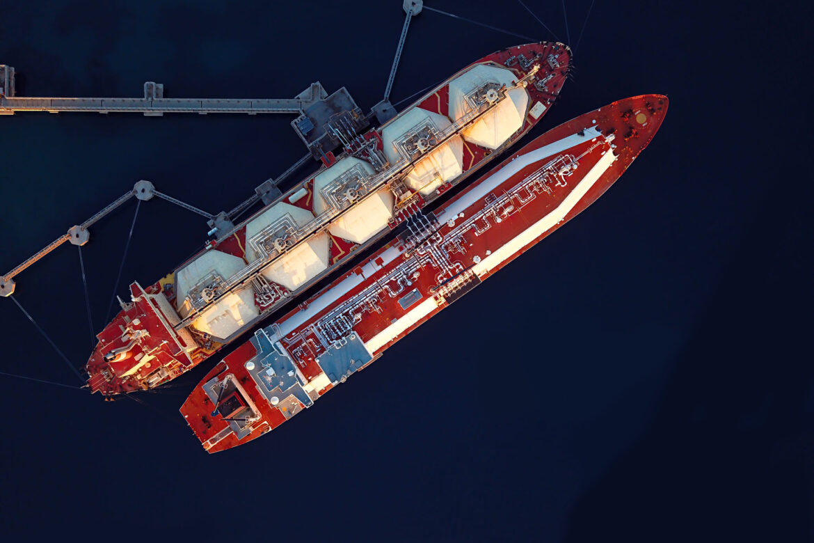Two Liquefied Natural Gas (LNG) Tankers Moored To The Jetty From Above